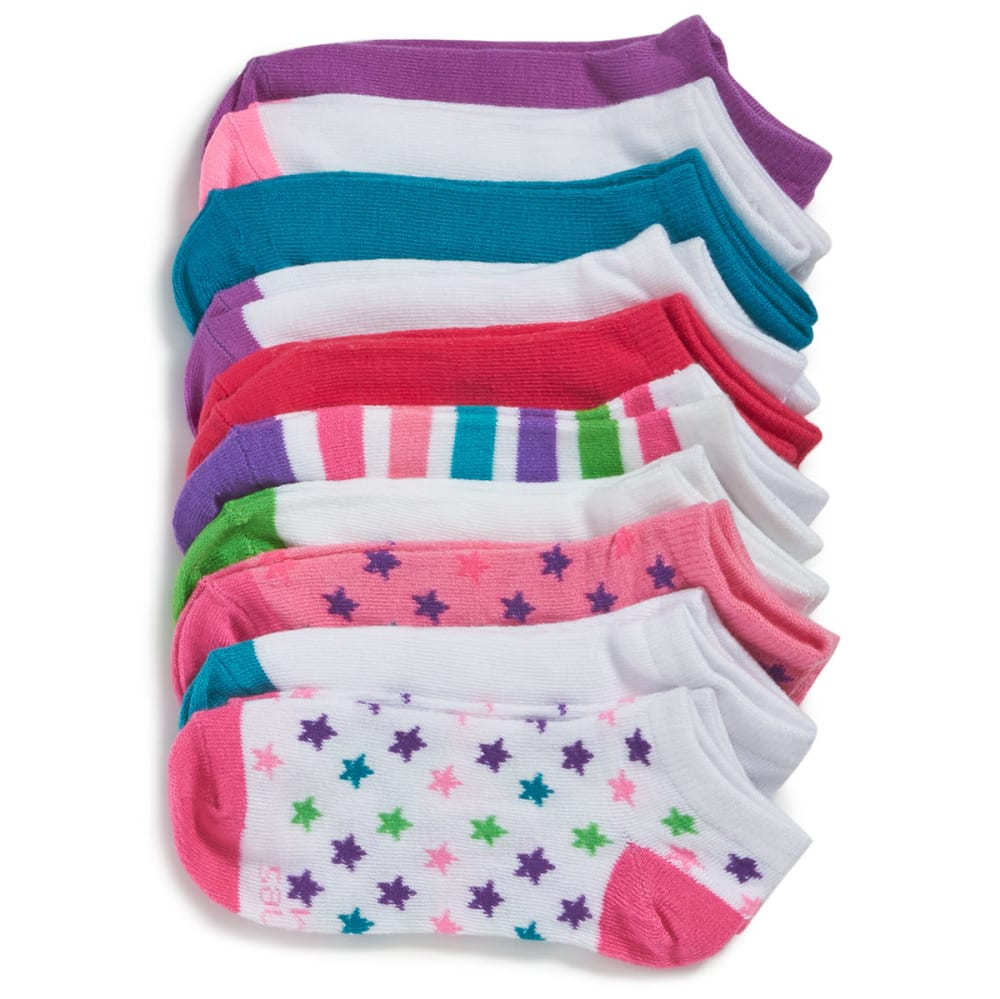 HANES Big Girls' No-Show Socks, 10 Pack - ASSORTED