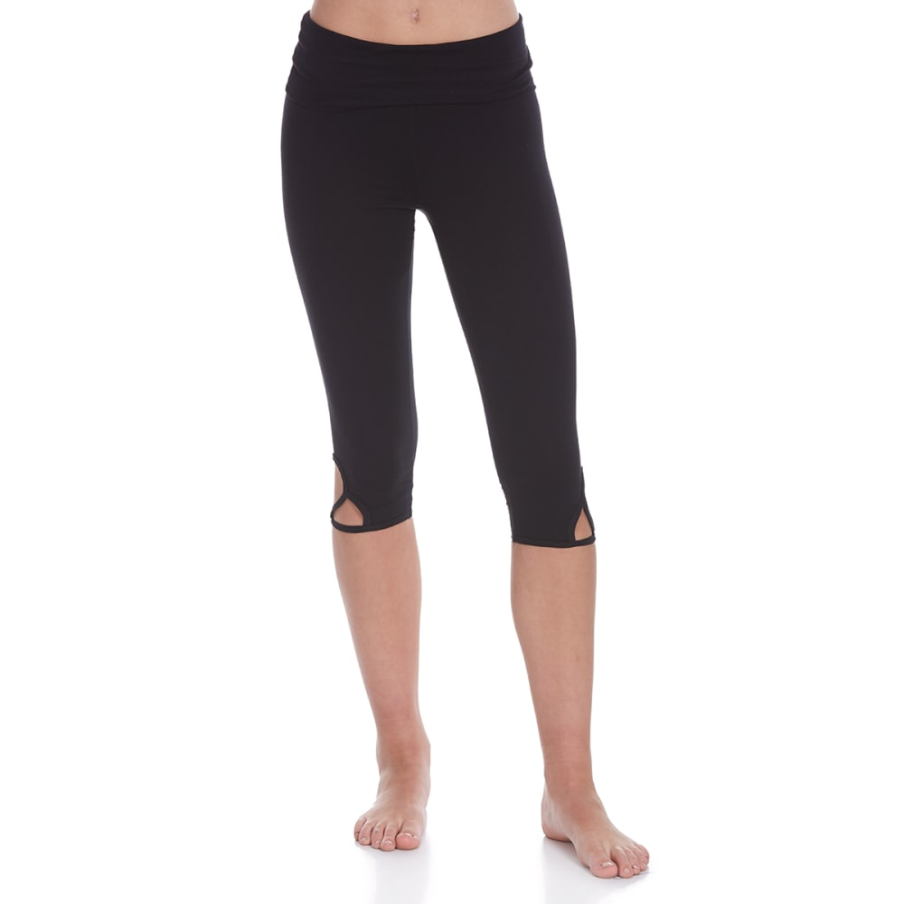 POOF Juniors' Folded Waist Side Cutout Detail Capri Leggings - BLACK