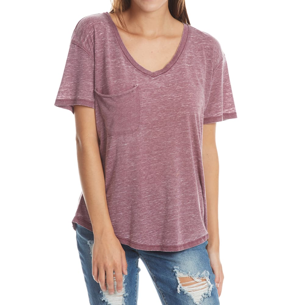 POOF Juniors' Acid Wash V-neck Pocket Tee - WINE