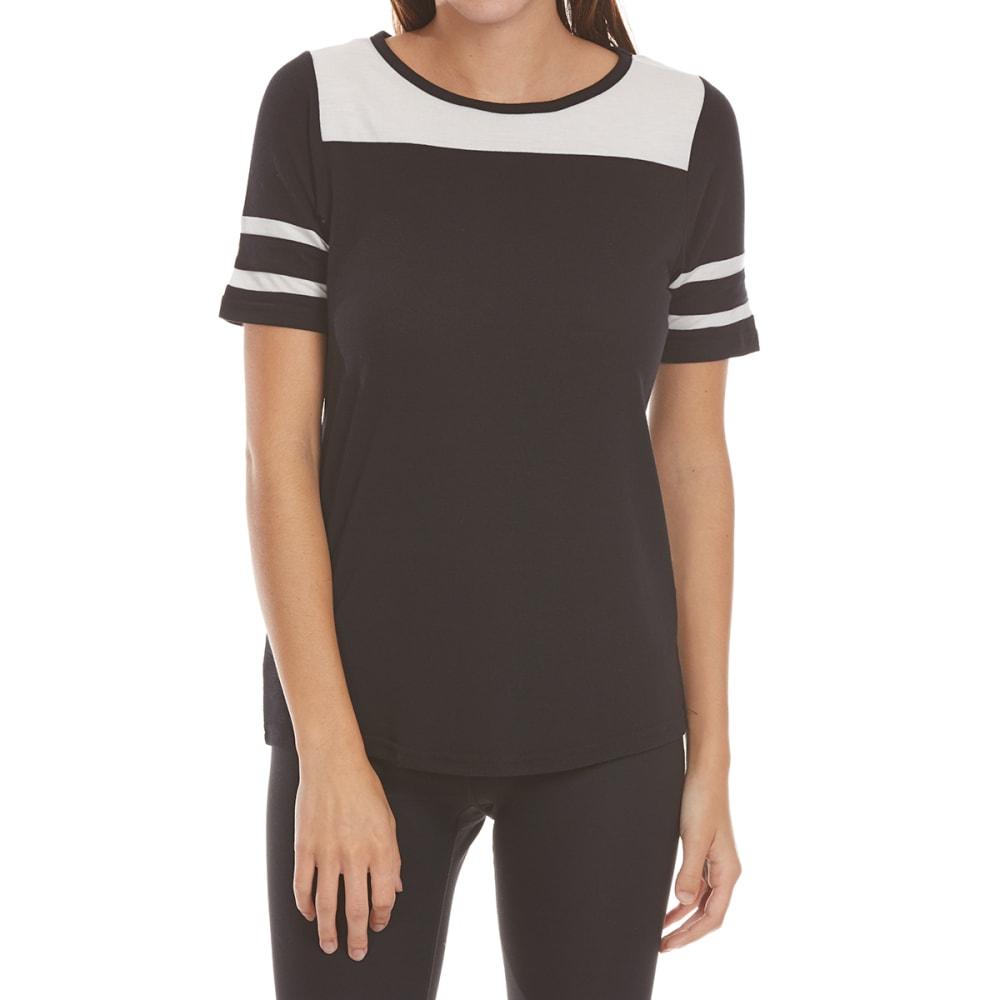 POOF Juniors' Stripe Sleeve Baseball Tee - BLACK