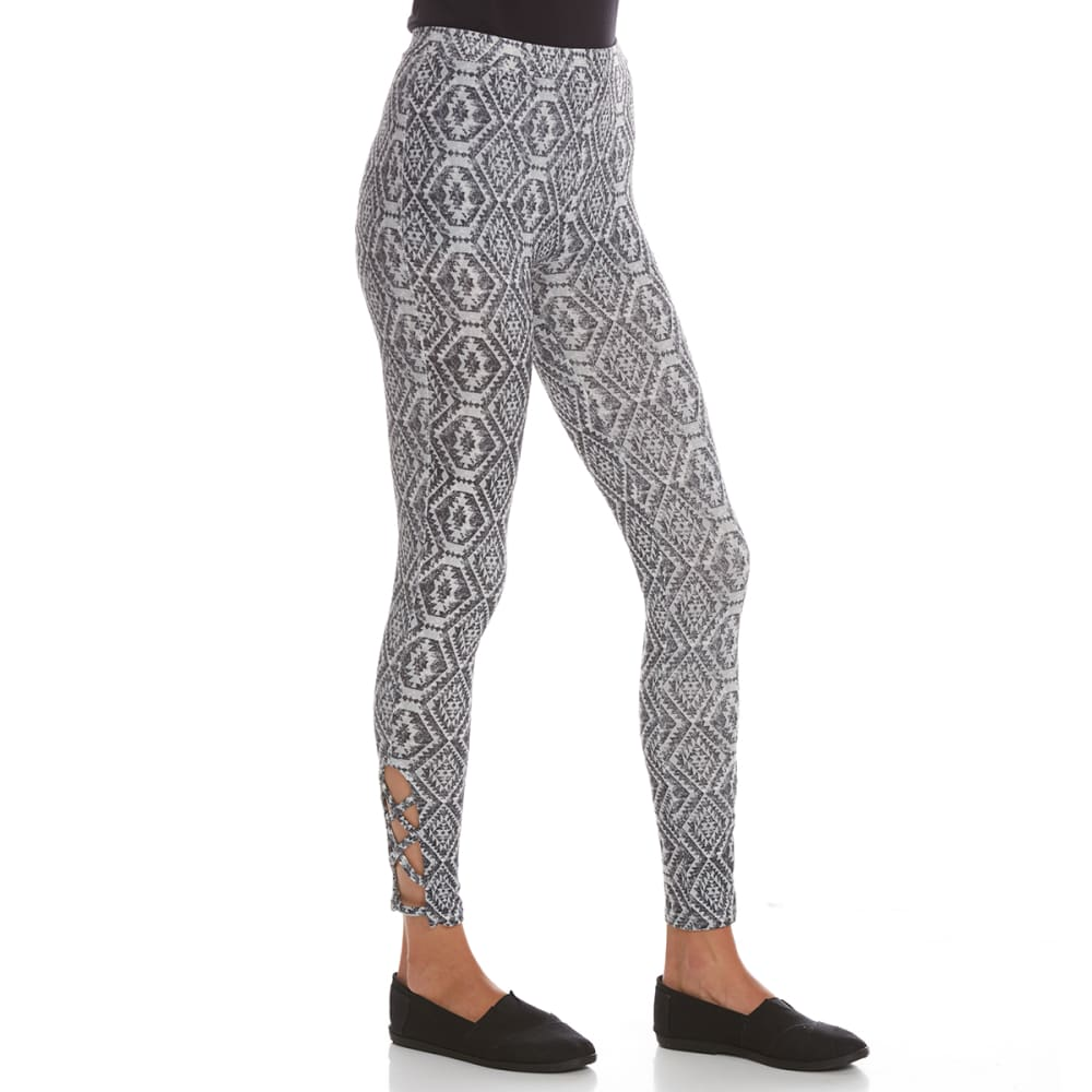 POOF Juniors' Distressed Aztec-Print Leggings with Cutout Details - BLACK