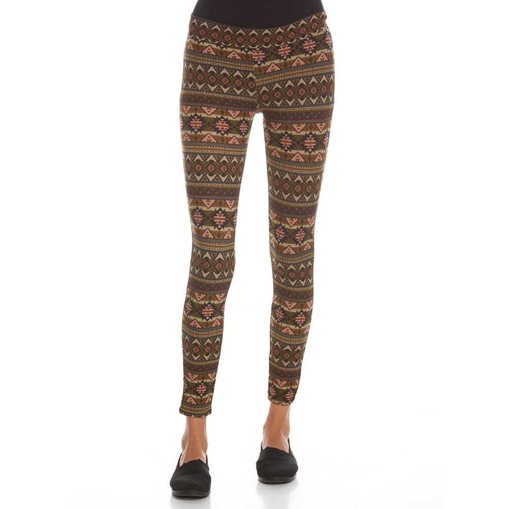 POOF Juniors' Peached Aztec Printed Leggings - BURNT OLIVE