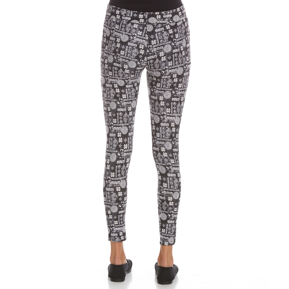 POOF Juniors' Peached Printed Leggings - BLACK COMBO