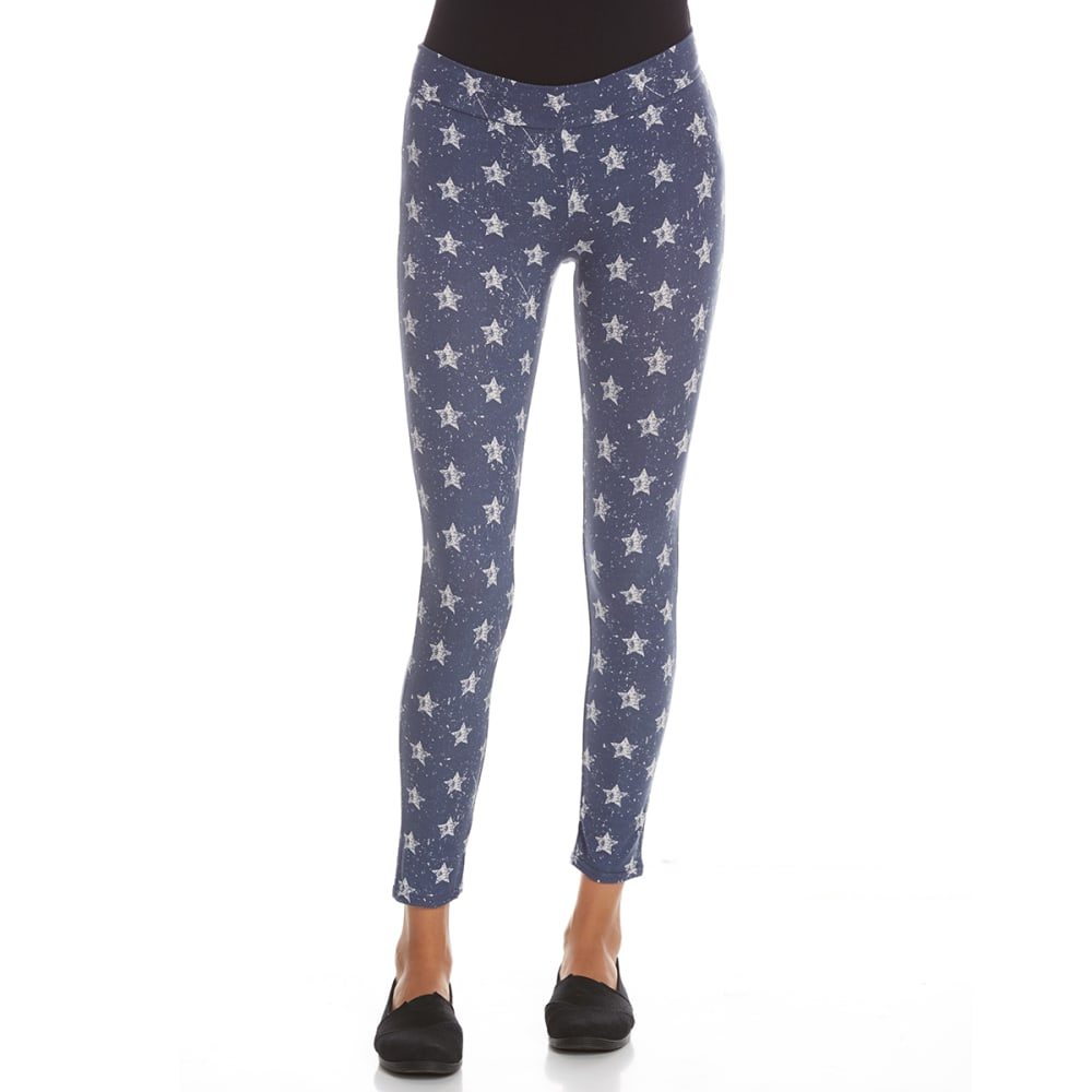 POOF Juniors' Peached Star Printed Leggings - INDIGO COMBO