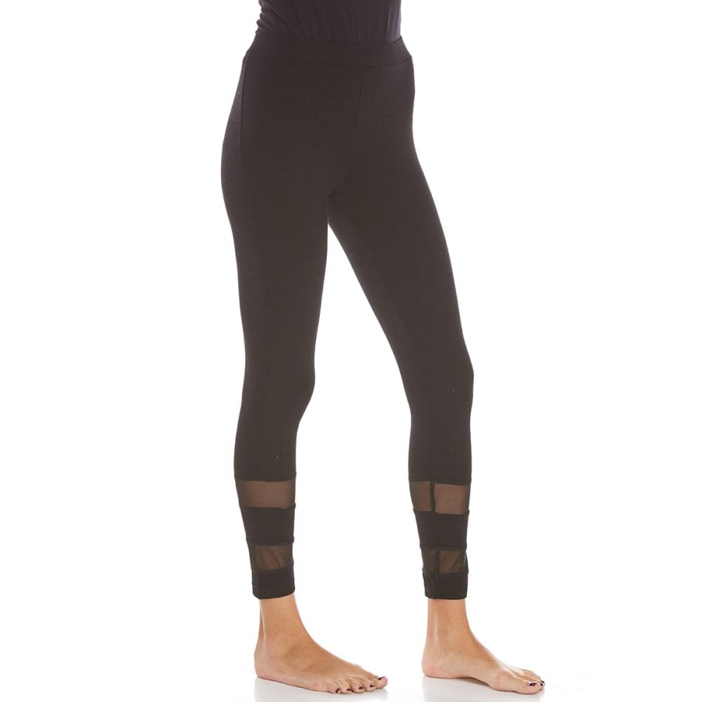 POOF Juniors' Jersey Mesh Insert Leggings - BLACK