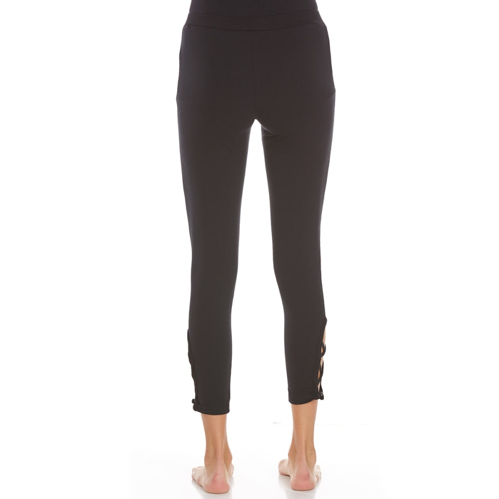 POOF Juniors Solid Leggings with Criss-Cross Detail - BLACK