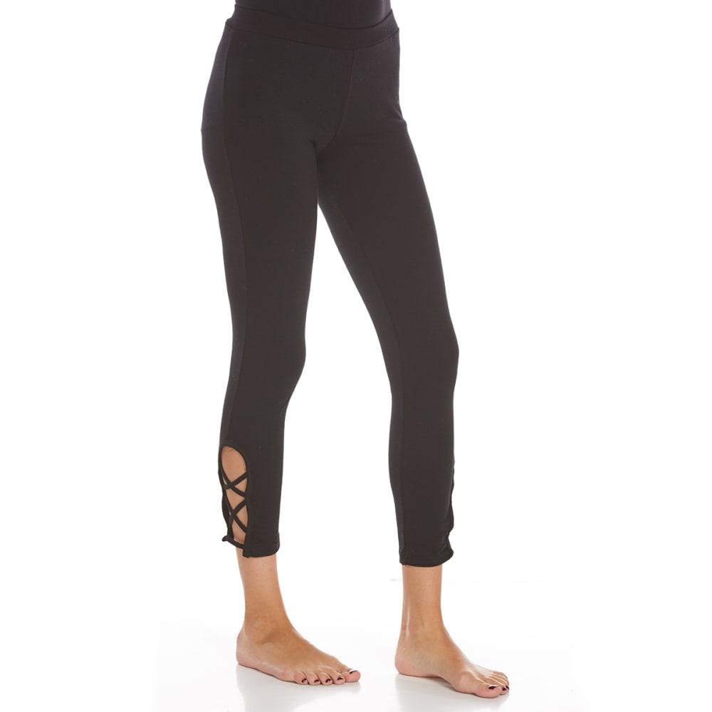 POOF Juniors Solid Leggings with Criss-Cross Detail - BLACK