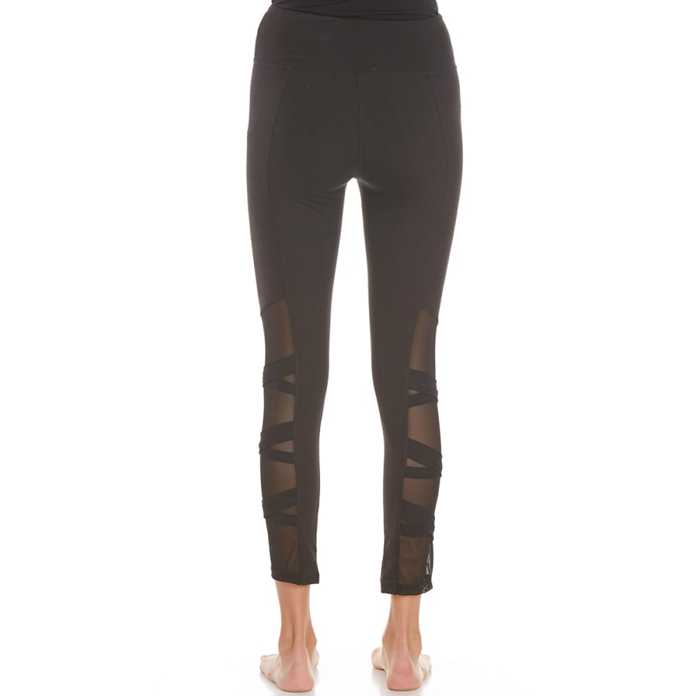 POOF Juniors' Solid Leggings with Mesh Inserts and Criss Cross Straps - BLACK