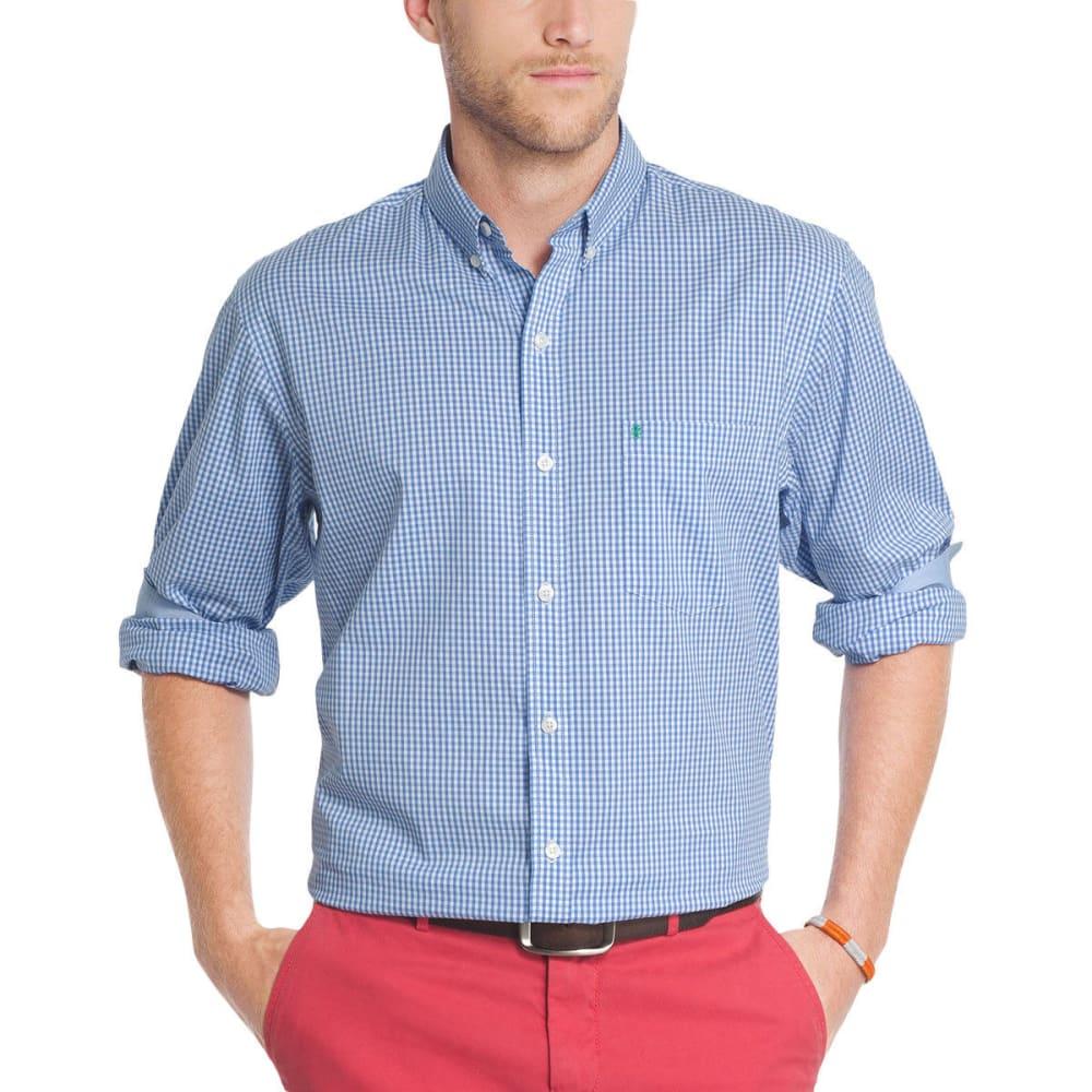 Izod Men's Advantage Performance Stretch Grid Long-Sleeve Shirt - Blue, M