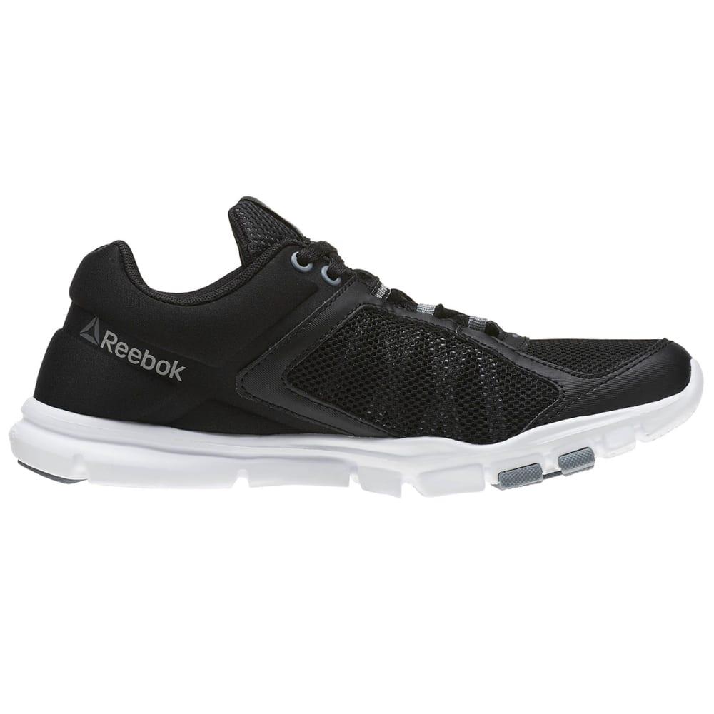 REEBOK Women's YourFlex Trainette 9.0 MT Cross Training Shoes, Black/White/Silver/Grey - BLACK