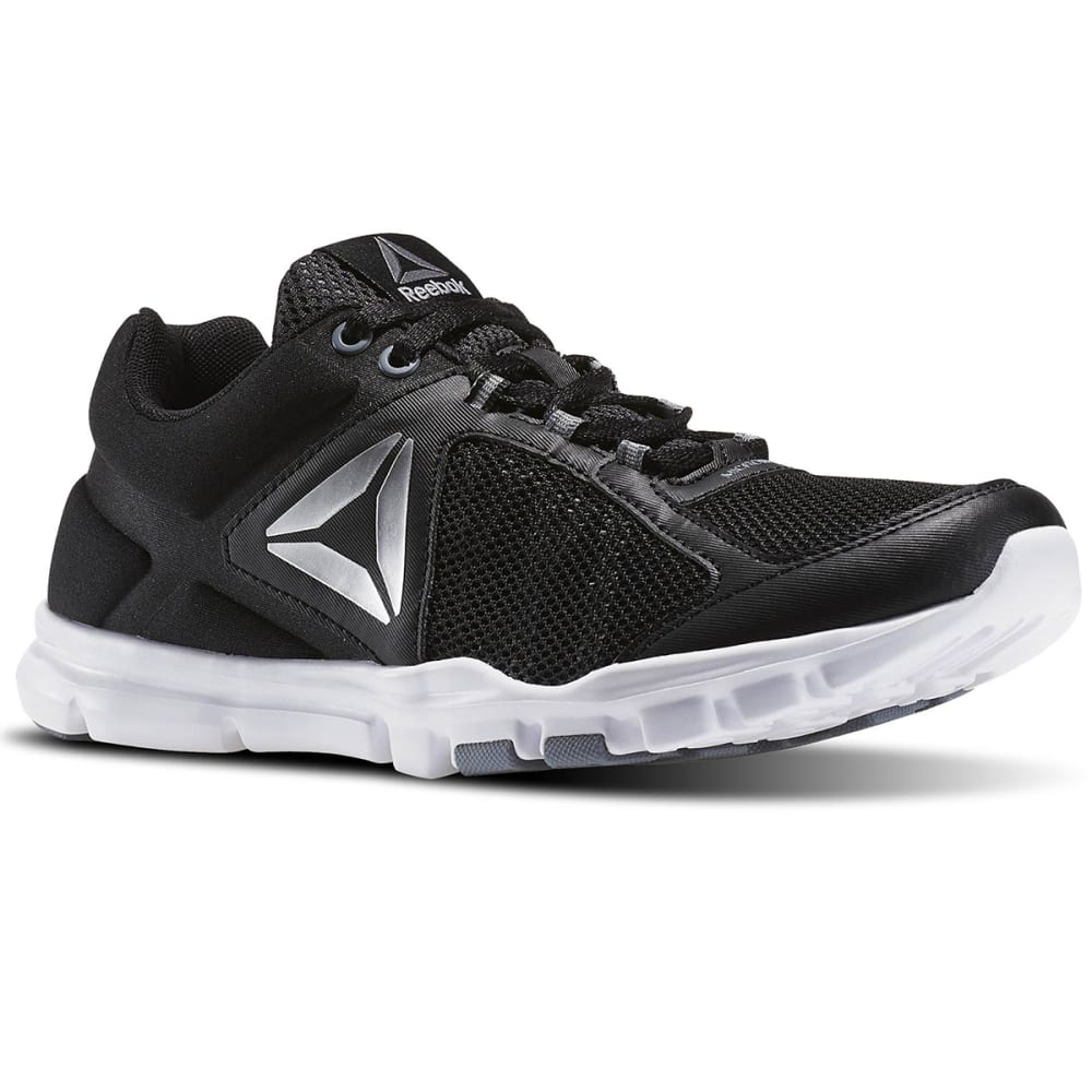 REEBOK Women's YourFlex Trainette 9.0 MT Cross Training Shoes, Black/White/Silver/Grey - BLACK