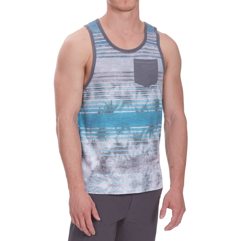 DISTORTION Guys' Tie-Dye Pocket Tank Top - TEAL TROPIC