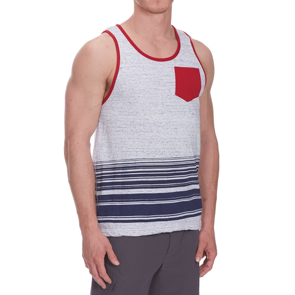 Distortion Guys Bottom Stripe Tank Top - Blue, S