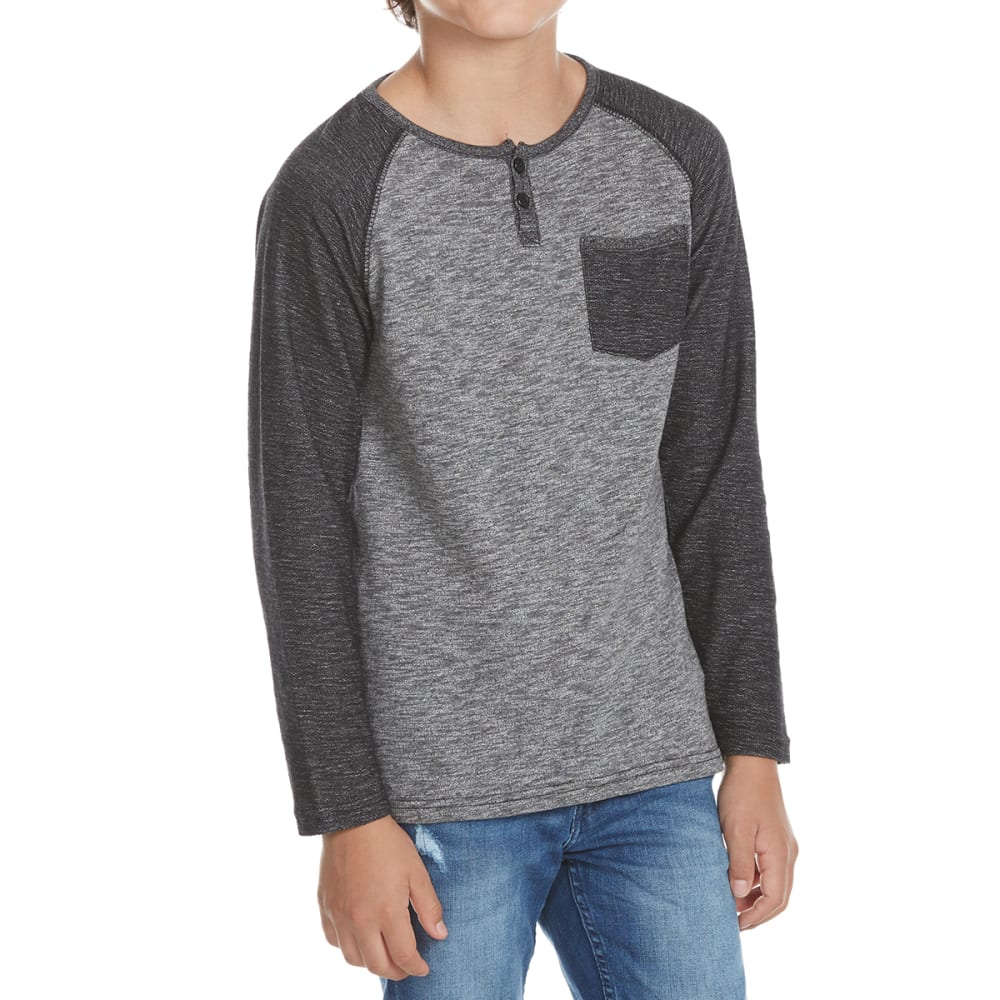 OCEAN CURRENT Boys' Statement Contrast Pocket Raglan Long-Sleeve Henley - BLACK