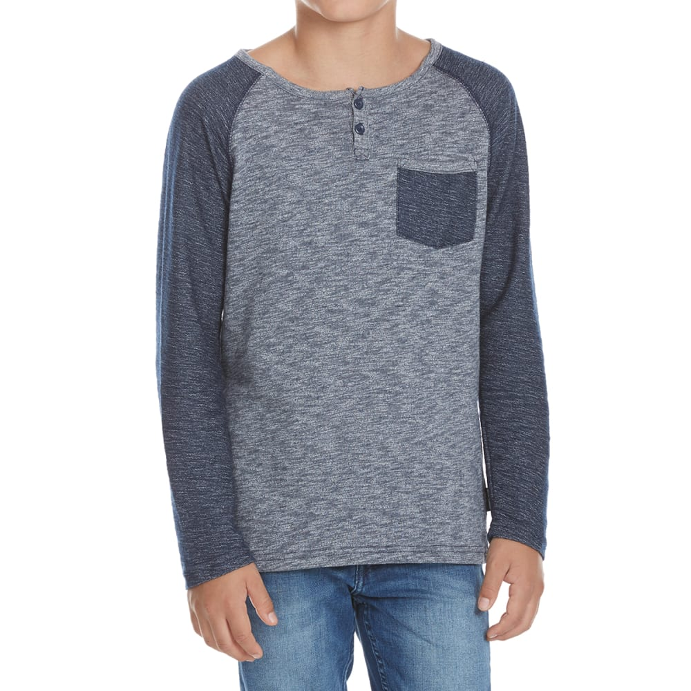 OCEAN CURRENT Boys' Statement Contrast Pocket Raglan Long-Sleeve Henley S