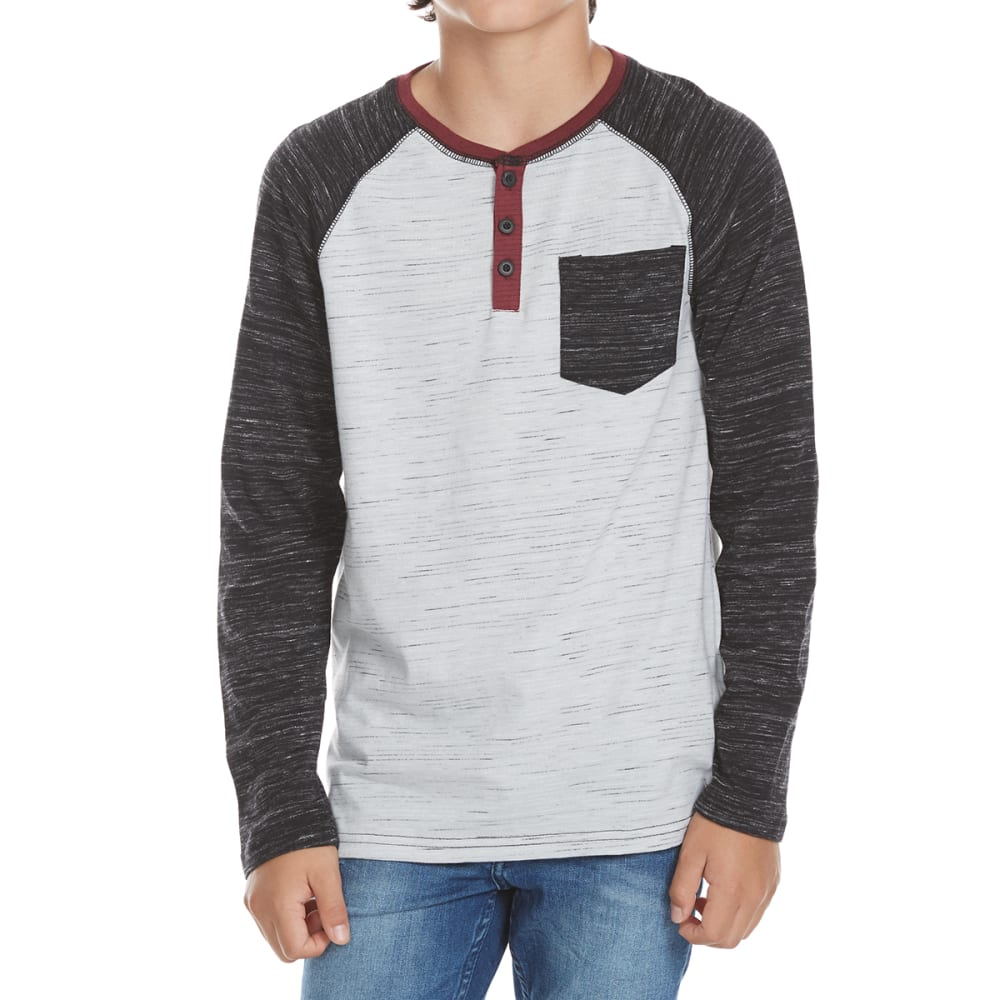 OCEAN CURRENT Boys' Midday Raglan Long-Sleeve Henley with Contrast Pocket - BLACK