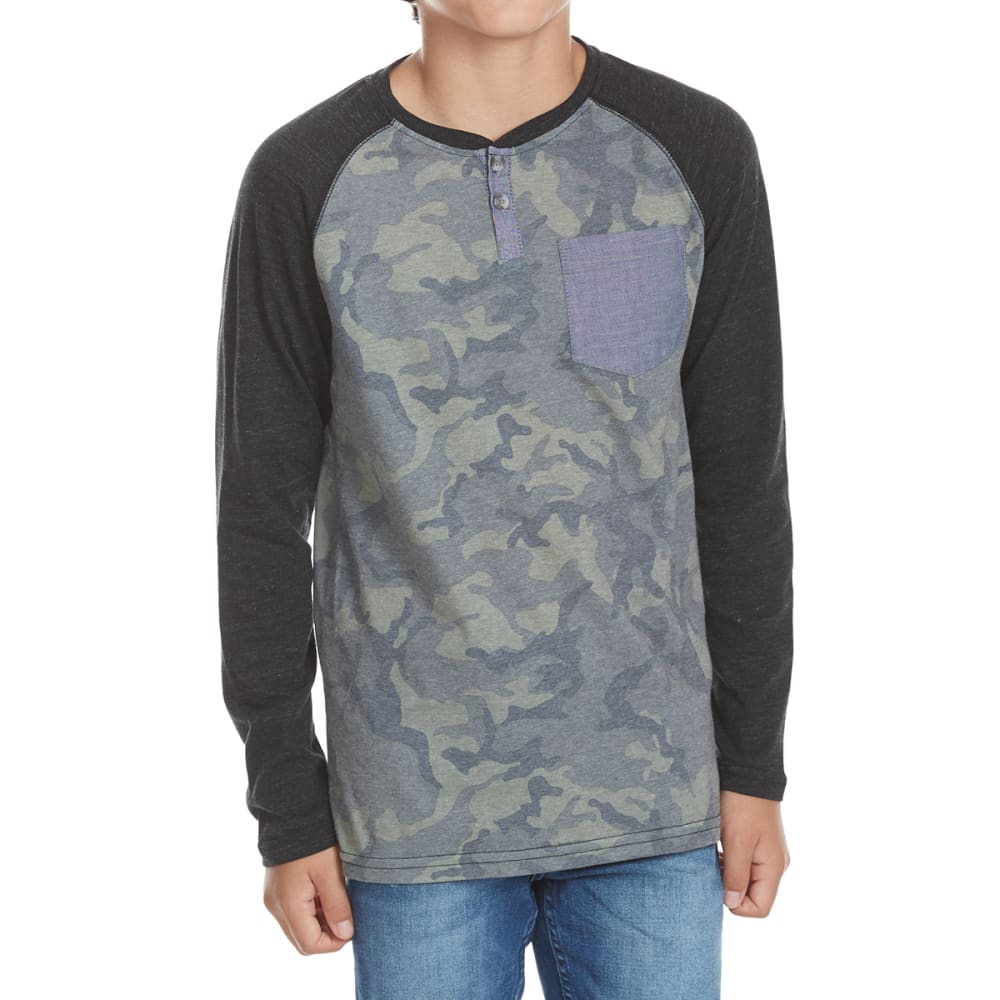 OCEAN CURRENT Boys' Drill Camo Henley Shirt - BLACK