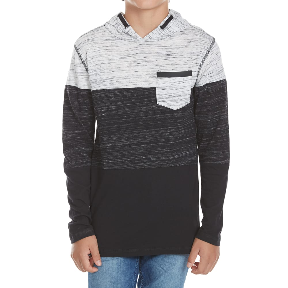 OCEAN CURRENT Boys' Trilogy Space-Dye Blocked Stripe Long-Sleeve Popover - BLACK