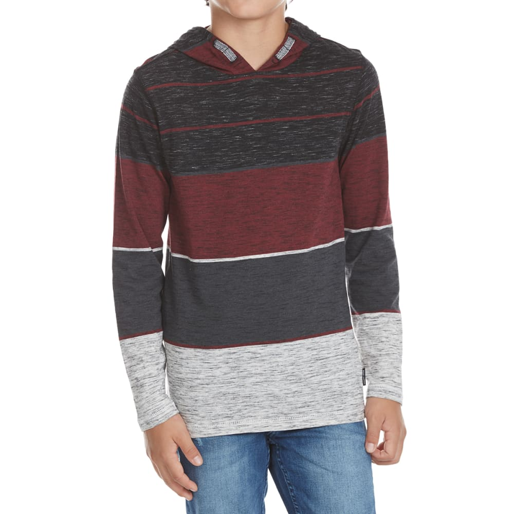OCEAN CURRENT Boys' Axillary Stripe Long-Sleeve Popover - WINE/DEEP BURGUNDY