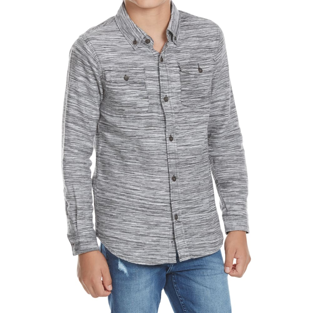 OCEAN CURRENT Boys' Winfield Space-Dye Flannel Long-Sleeve Shirt - BLACK