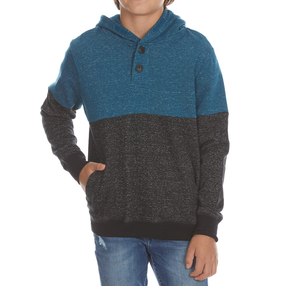 OCEAN CURRENT Boys' Parker Dot Fleece Henley Hoodie - BLACK/JEDI