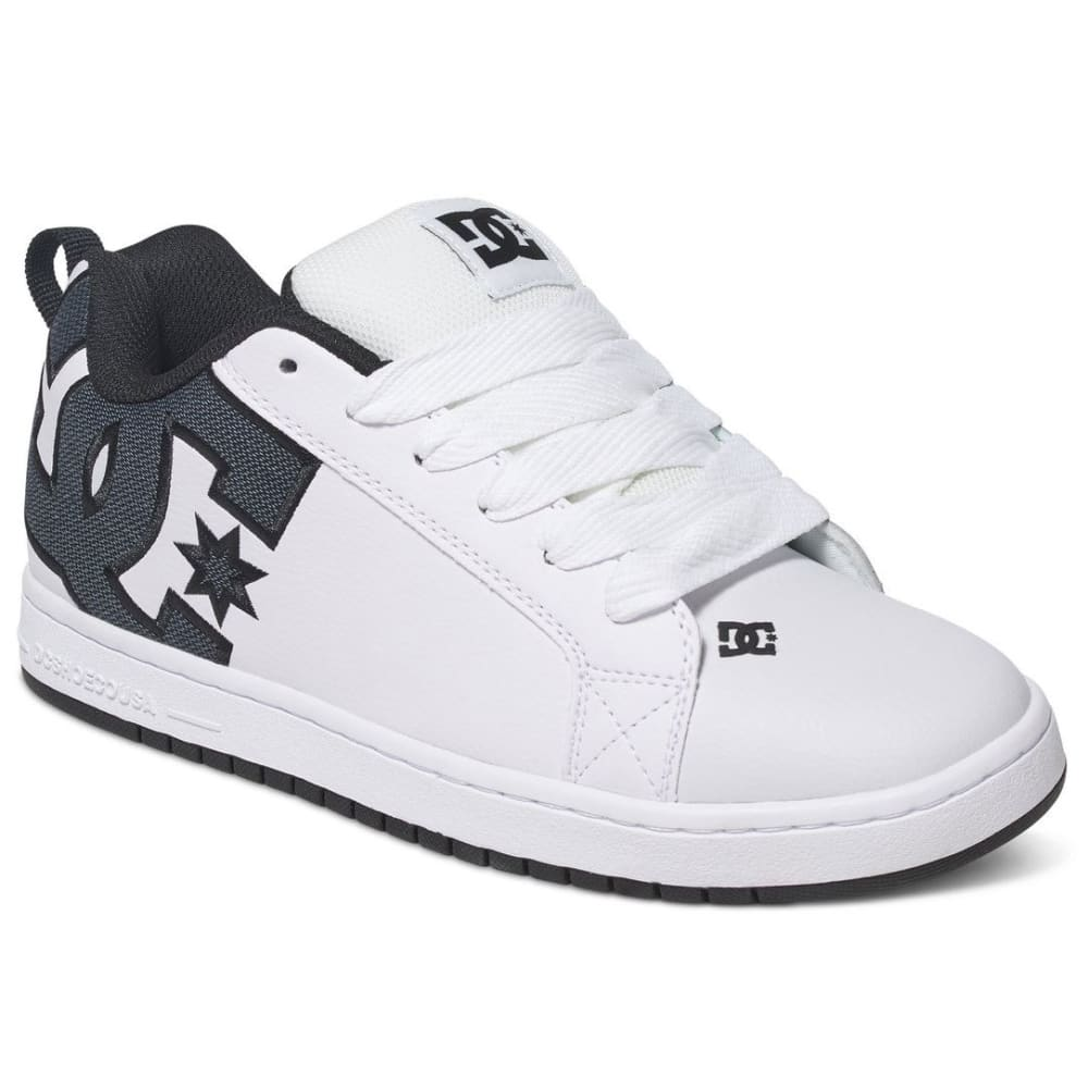 DC Guys' Court Graffik SE Skate Shoes, White/Grey - WHITE