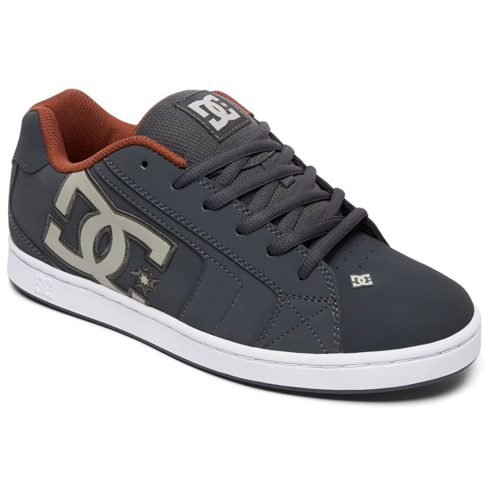 DC Men's Net Skate Shoes, Shadow/White/Athletic Red - GREY