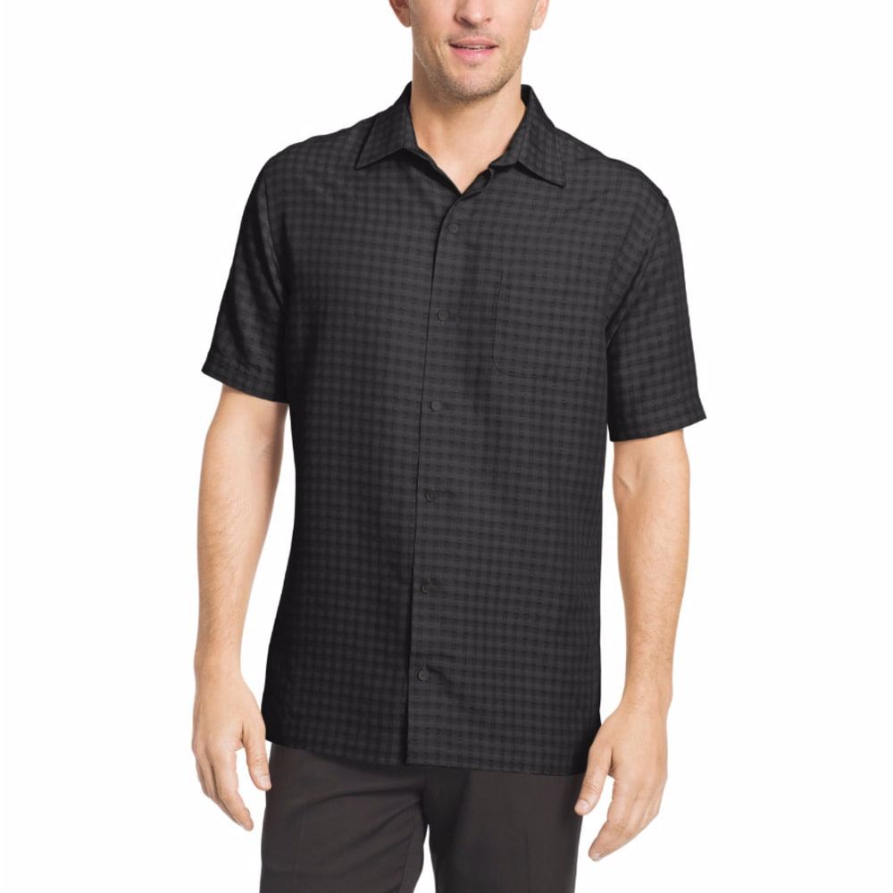 VAN HEUSEN Men's Non-Solid Plaid Woven Short-Sleeve Shirt - GRY CUMULUS-081