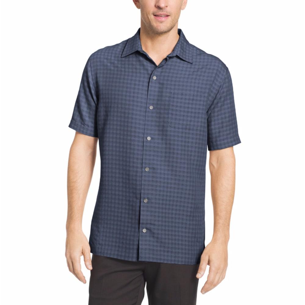 VAN HEUSEN Men's Non-Solid Plaid Woven Short-Sleeve Shirt - BLU INFINITY-428