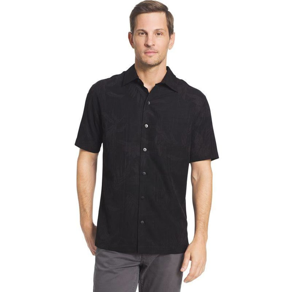 VAN HEUSEN Men's Poly Print Woven Short-Sleeve Shirt - BLACK-001