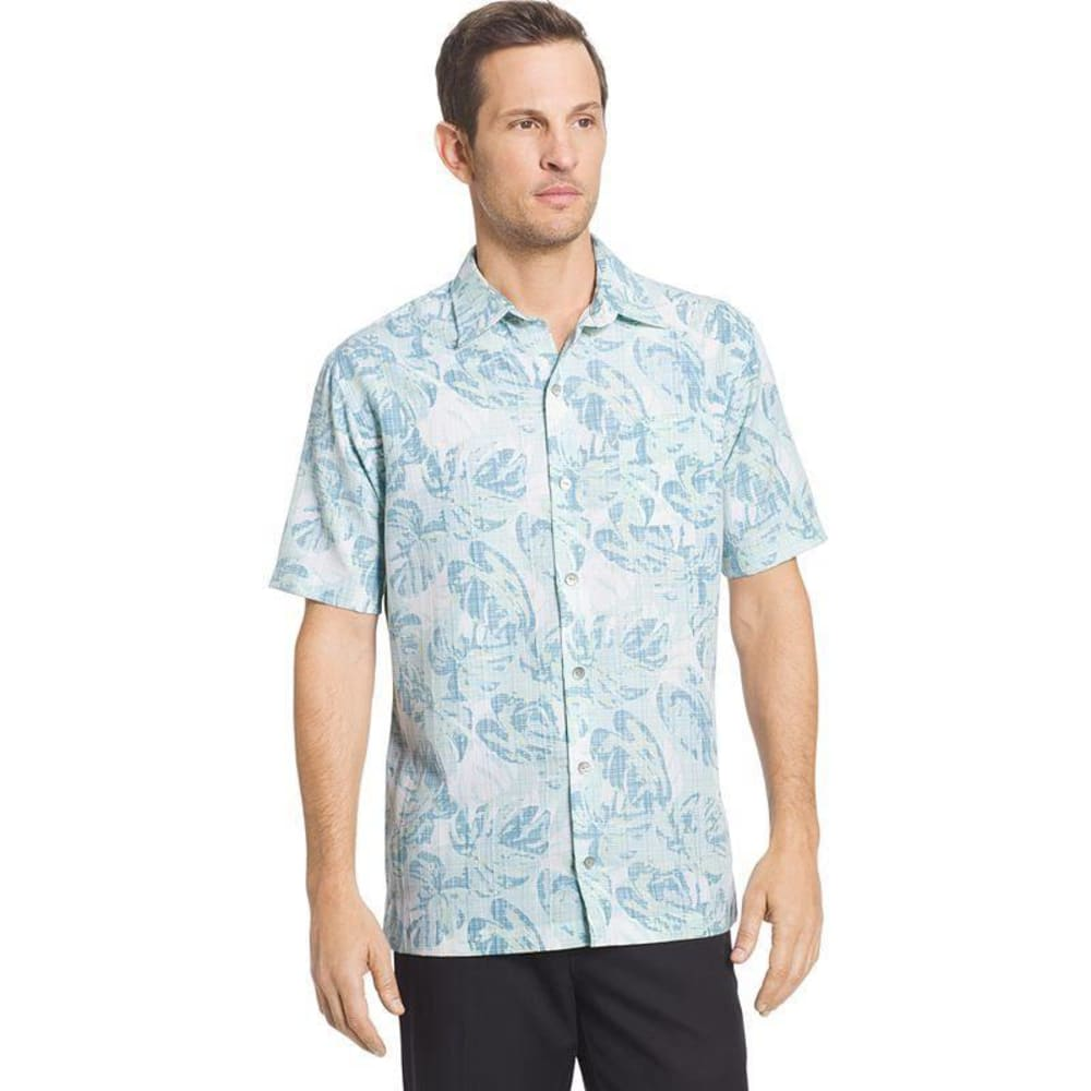 VAN HEUSEN Men's Poly Print Woven Short-Sleeve Shirt - AQU PLUME-476