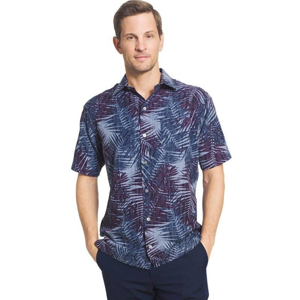 VAN HEUSEN Men's Poly Print Woven Short-Sleeve Shirt - BLUE INFINITY-428