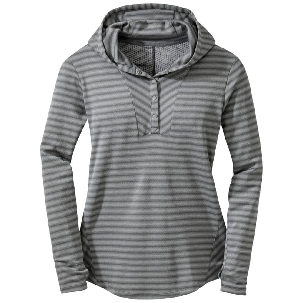 OUTDOOR RESEARCH Women's Keara Hooded Henley Shirt - PEWTER/CHARCOAL