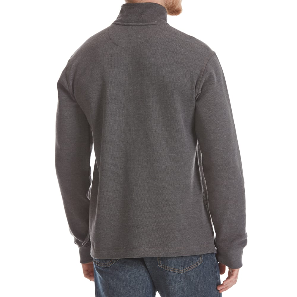 RUGGED TRAILS Men's French Rib ¼-Zip Knit Pullover - CHARCOAL HTR