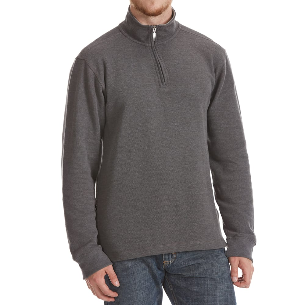 RUGGED TRAILS Men's French Rib 1/4 Zip Knit Pullover M