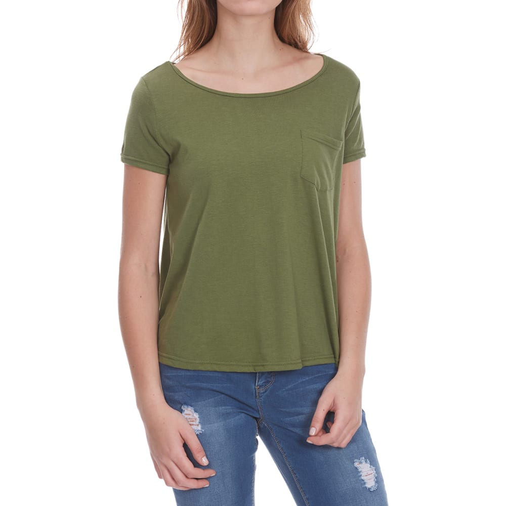 POOF Women's Back Lace Insert Solid High-Low Short-Sleeve Tee - WARM OLIVE HTHR