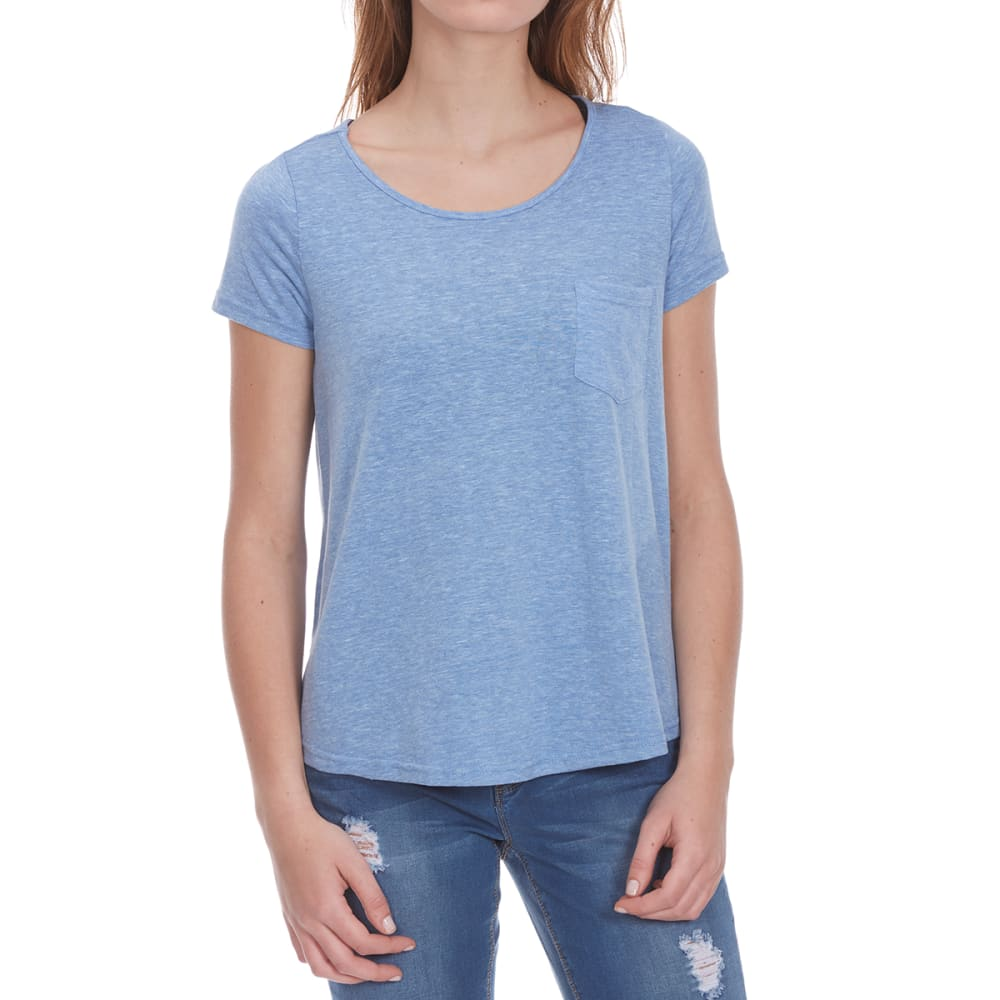 POOF Women's Back Lace Insert Solid High-Low Short-Sleeve Tee - ULTRA MARINE HTHR
