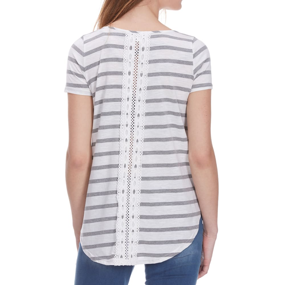 POOF Women's Back Lace Insert Striped High-Low Short-Sleeve Tee - EGGWHITE/GRY HTHR