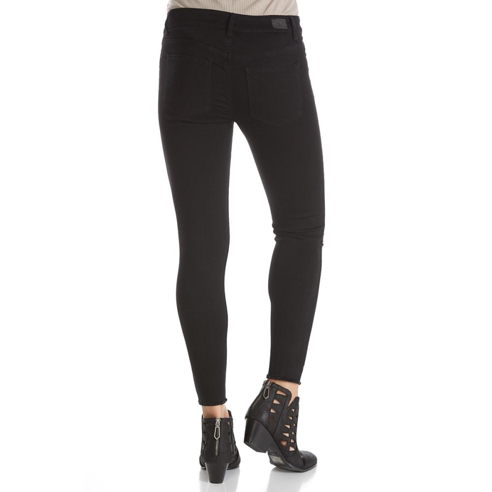 CELEBRITY PINK Juniors' Frayed Hem Destructed Knee Skinny Jeans - H20-BLACK