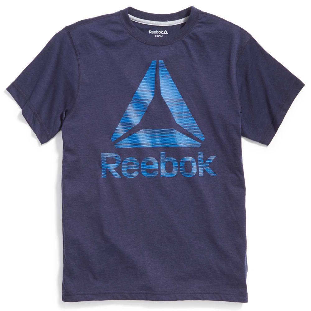 REEBOK Men's Binary Delta Short-Sleeve Tee - NAVY HTR-R136