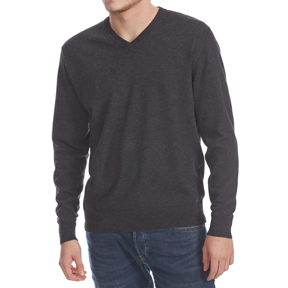 RUGGED TRAILS Men's Solid V-Neck Long-Sleeve Sweater - CHAR HTR