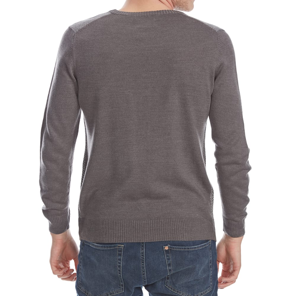 RUGGED TRAILS Men's Herringbone V-Neck Long-Sleeve Sweater - IRON HTR