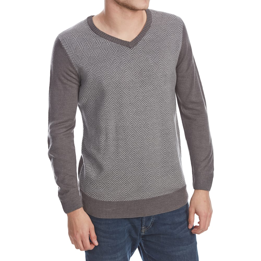 RUGGED TRAILS Men's Herringbone V-Neck Long-Sleeve Sweater - IRON HTR