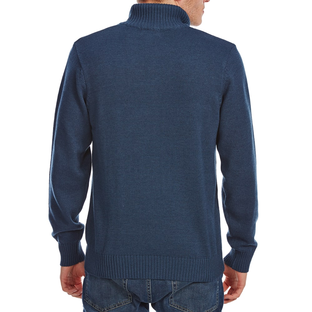 RUGGED TRAILS Men's Varigated Rib ¼-Zip Sherpa-Lined Sweater - TEAL HTR