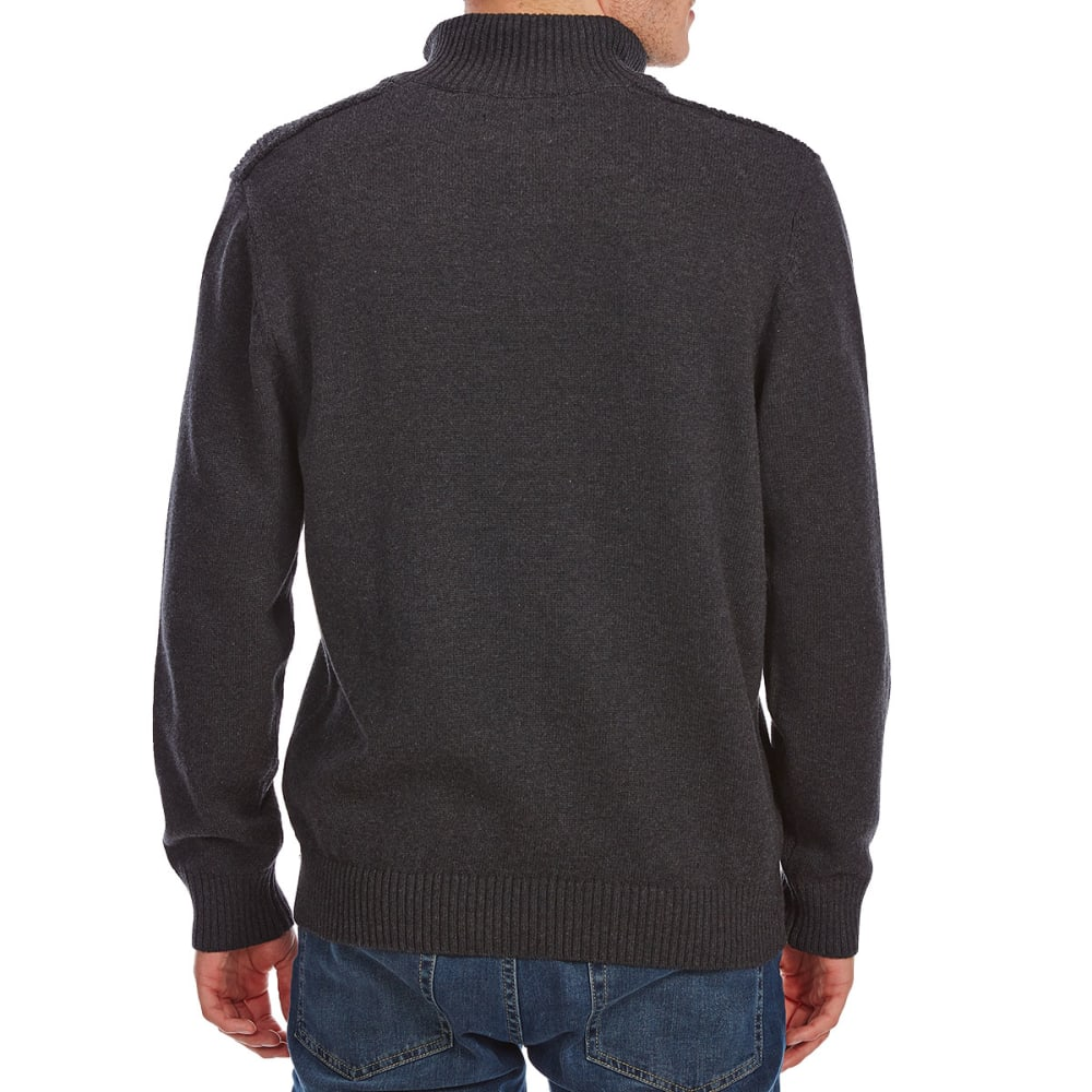 RUGGED TRAILS Men's Textured Yoke ¼-Zip Sherpa-Lined Sweater - CHARCOAL HTR