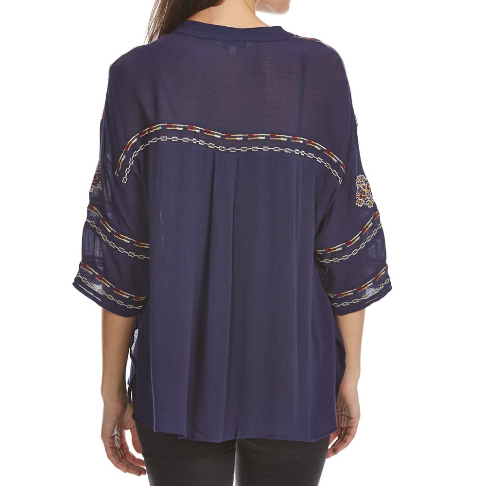 CRIMSON IN GRACE Women's Embroidered Peasant Long-Sleeve Top - ECB-ECLIPSE BLUE