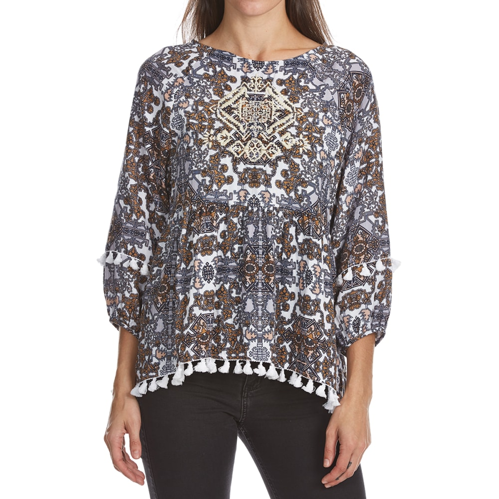 CRIMSON IN GRACE Women's Printed Baby Doll Long-Sleeve Top With Tassels - PRC-PERIWINKLE/RAW C