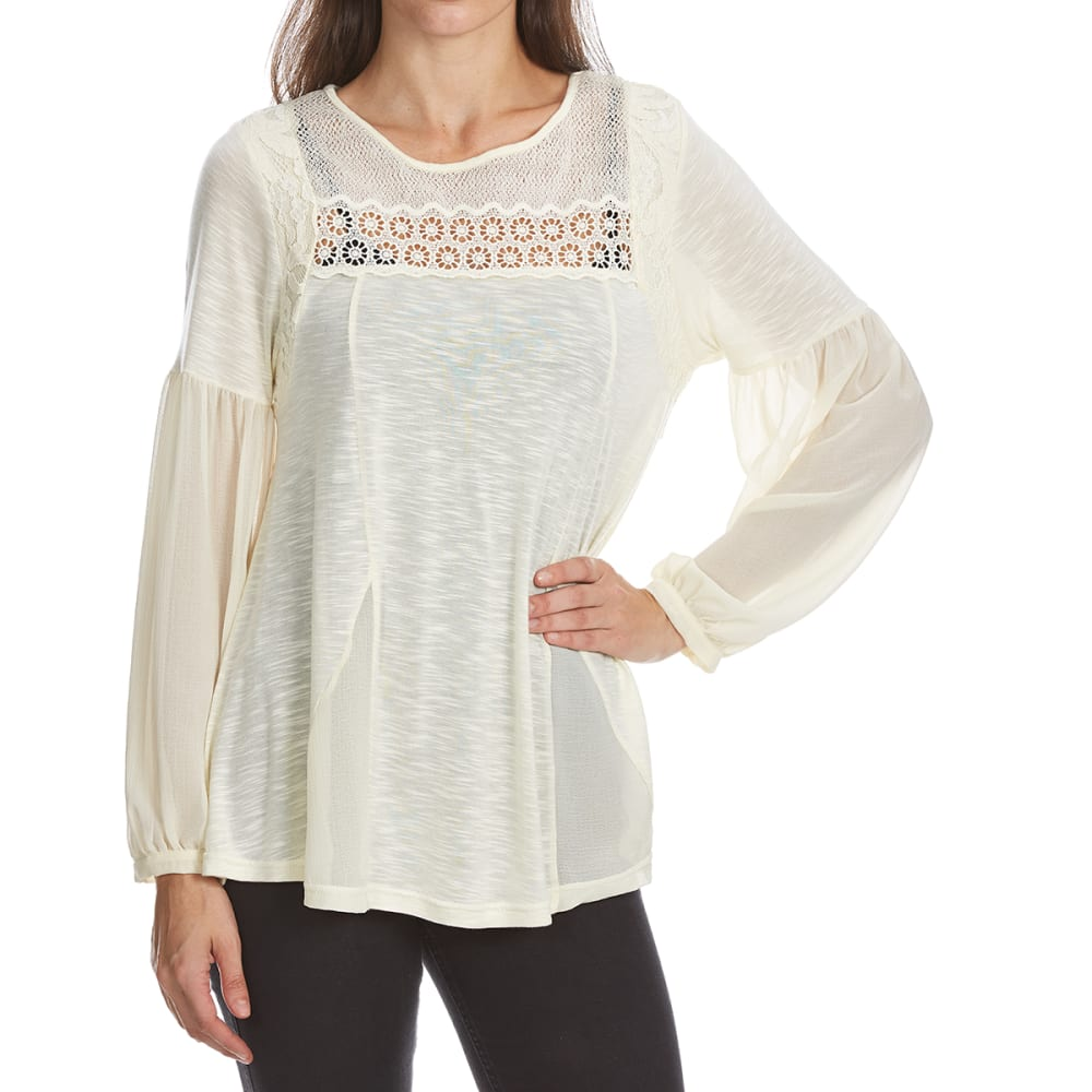 CRIMSON IN GRACE Women's Knit Chiffon Lace Long-Sleeve Top - RAC-RAW CLAY