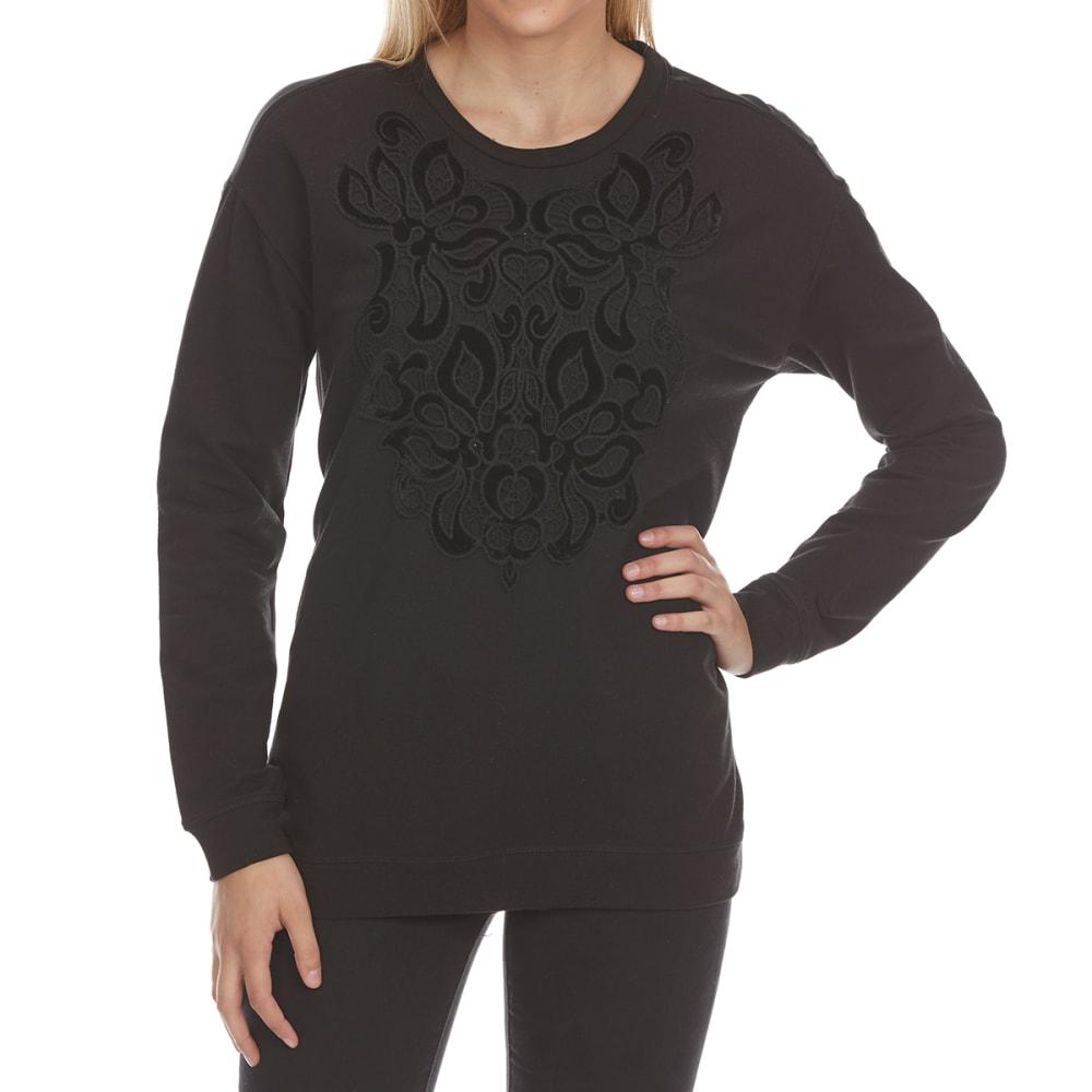 CRIMSON IN GRACE Women's Applique Front Satin Back Long-Sleeve Pullover - TAR-TAR