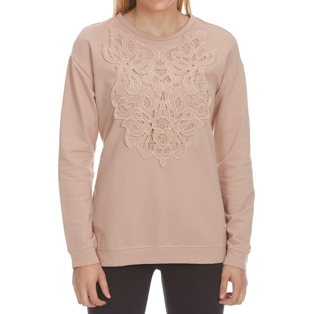 CRIMSON IN GRACE Women's Applique Front Satin Back Long-Sleeve Pullover - HLM-HILLSIDE MAUVE